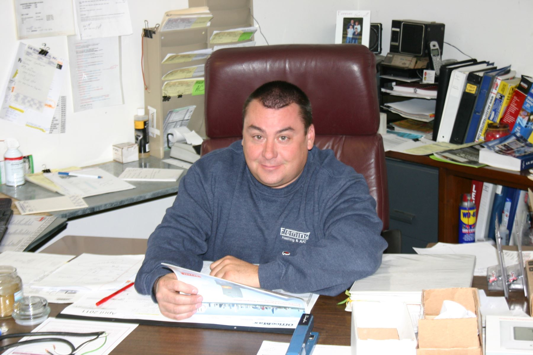 In the office of Fleming Heating & Air Conditioning Inc.